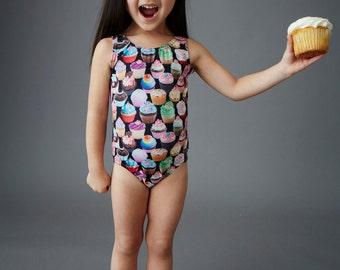 CUPCAKE (Black) Girls Tank Swimsuit