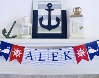 Nautical Name Banner,  Nautical Banner, Nautical Party, Nautical Decor, P018