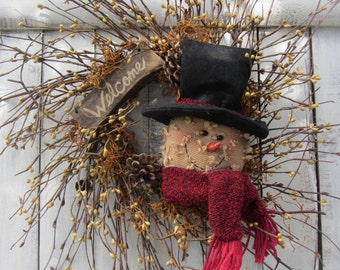Winter Wreath - Rustic Christmas Wreath - Snowman  Twig Wreath - Primitive Winter Wreath - Berry Wreath  - Welcome Wreath - Holiday Wreath