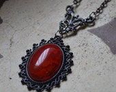Bloody red stone necklace, fiery red necklace, black and red necklace, red gothic necklace, red agate necklace, red dragon veins agate