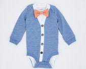 Cardigan Onesie and Bow Tie Set - Light Blue with Orange Gingham - Trendy Baby Boy