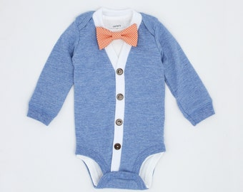 Cardigan Onesie and Bow Tie Set - Light Blue with Orange Gingham - Trendy Baby Boy
