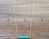 Scout - Dainty Gold & Turquoise Bar Necklace