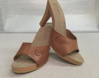 vintage Candie's sandals // leather mules sandals // 1990s