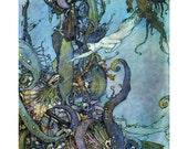 Mermaid Fabric Block Seeks Witches Potion Under The Sea - Edmund Dulac