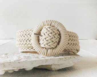 Braided Rope Belt/Macrame Belt/Nautical Belt/Resort/Cream Belt/Woven Belt/Boho Chic Belt/Hippie/Cotton Off White Belt/Boho Belt/Retro/Casual