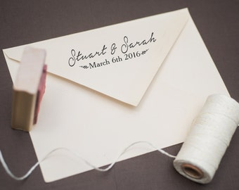 Custom Rubber Wedding Date and Names Stamp