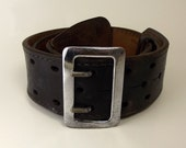 Don Hume Sam Brown Steampunk Duty Belt Black Leather with Metal Buckle B101 34
