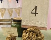Nautical Wedding Decor - 5 Nautical Rope Table Number Holders