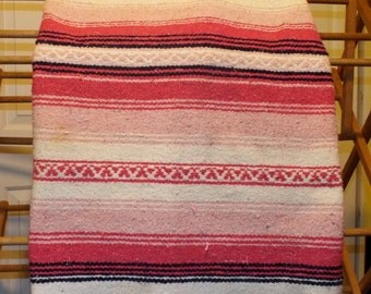 Bohemian Home Decor Large Pink Striped Blanket or Wall Hanging