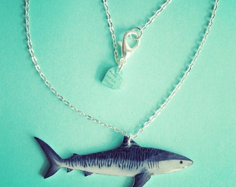 Shark necklace. Tiger shark gloss charm, rustic bronze or faux silver 19 inch chain. Optional donation to No Shark Cull.