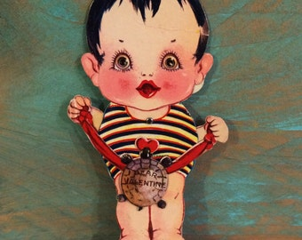 Odd 1930 Valentine's Day Card, Die Cut Mechanical, German, Little Kewpie Style Child with Turtle on String or Ribbon