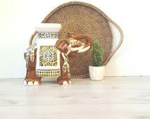 Vintage Elephant Plant Stand / Ceramic Elephant Garden Stand / Plant Stand
