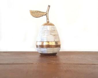 Mother Of Pearl Pear Trinket Box ~ Vintage Brass/ Mother Of Pearl Inlay Pear Keepsake Box ~ Gift Box ~ Jewelry Storage