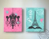 Eiffel Tower Art Paris Bedroom Decor,Chandelier Girls Room Decor, Teen or Girl Nursery Decor ,Pink and Aqua Decor
