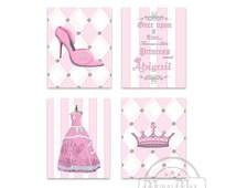 Princess Pink Nursery Decor,Girls room Decor, Princess Wall Art, Set of 4 Prints - Princess Crown Shoes Ball Gown