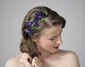 """Purple Flower Headband, Plum Headpiece, Violet Hair Band, Pansy Hair Accessory, 1950s Fascinator, Floral Headband Women - """"Bed of Violets"""""""