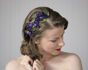 "Purple Flower Headband, Plum Headpiece, Violet Hair Band, Pansy Hair Accessory, 1950s Fascinator, Floral Headband Women - ""Bed of Violets"""
