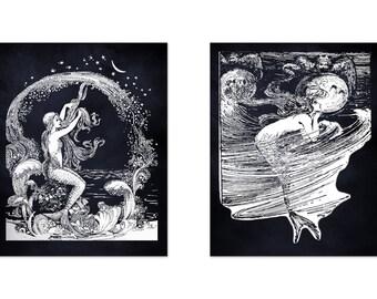 Mermaid Print Set, Mermaid Prints From The Little Mermaid by Hans Christian Anderson, Mermaid Art, Nautical Decor, Fairy Tale Wall Art