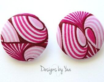 XL Pink Ankara Button Earrings