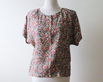 80s Sweet Floral Blouse Prairie Country Chic Short Sleeve Oversized Flowy Women Size Medium