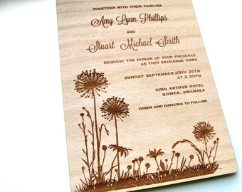 Wood Wedding Invitation, Wooden Wedding Invitation, Wood Invitation, Rustic Invite