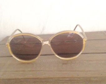 Chunky yellow sunglasses- 70s-60s  eyewear