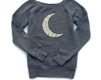 Moon Shirt. Sequin Moon Shirt. Crescent Moon Shirt. Moon Sweatshirt Jumper. Moon Sweater. Women's Sweatshirt. Plus Size Women. Tumblr Shirt