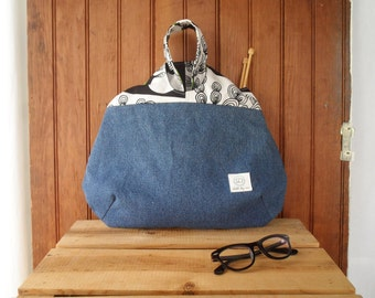 Knot bag - hobo style bottom recycled denim canvas project bag