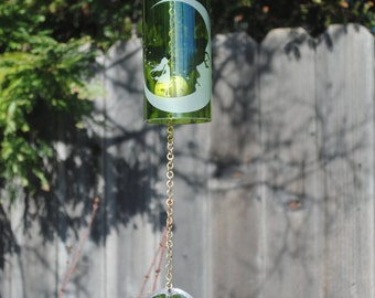 Green/Brass Moon Dancer Wine Bottle Windchime, Windcatcher, Eco Friendly, Green, Upcycle, Recycle, Winebottle