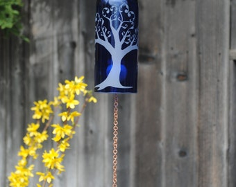 Heart Tree of Love Wine Bottle Windchime - Glass Garden Art Rememberance Windcatcher Outdoor Wine Upcycle Family Wedding Love Shower Bridal