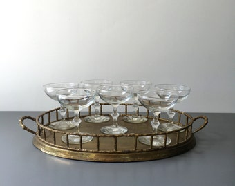 vintage champagne coupes faux bamboo stem saucers set of 7