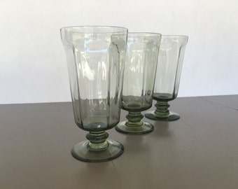 vintage Lenox Crystal Antique iced tea glass pale green set of 3
