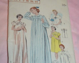 Vintage 50s Butterick 6315  Nightgown or Shortie Hospital Gown  Sewing Pattern - UNCUT Size 16 Bust 34