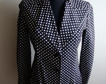 Sixties White on Black Cotton Polka Dot Blazer