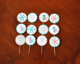 Winter Onederland Cupcake toppers, Snowflake Cupcake Toppers Set of 12
