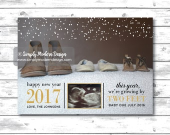 new years pregnancy announcement, growing by two feet, christmas card, pregnancy announcement, new baby, PRINTABLE or PRINTED CARDS
