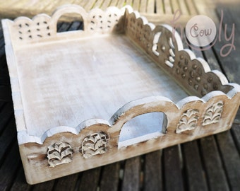 Beautiful Hand Carved White Wooden Tray