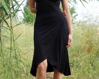 Black bridesmaid dress. black wrap dress. casual boho dress. short sleeves dress. plus size dress. midi bohemian dress. summer dress. boho.