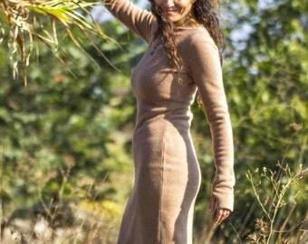 Camel Long Tunic top. Warm Winter Fleece Dress. Fleece Tunic. Womens Winter Dress. Fleece Dress. Outdoor Warm Dress. Womens Sweater Dress