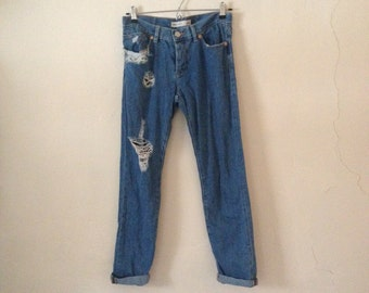 Mid Rise Blue Wash Jeans Distressed Holes Ripped Turn Up Boyfriend Fit