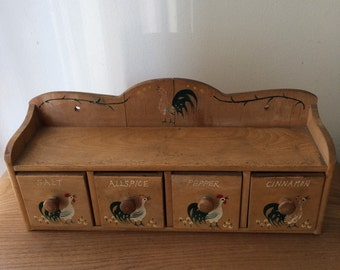 Wooden Rooster Spice Chest with Drawers