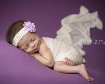 FREE SHIPPING! Lavender Flower Headband, Lavender Baby Headband, Lavender Headbands, Baby Girl Headband, Baby Headbands, Baby Hair Bows