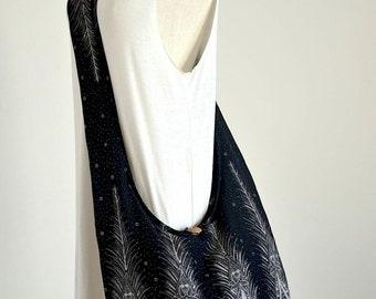 Black Peacock Tail with Small Paisley Crossbody Bag Boho Hobo Bag Hippie Messenger Bag Cotton Shoulder Bag Women Diaper Bag Sling Bag Purse