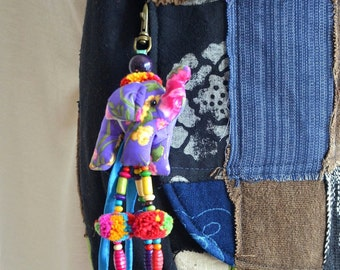 Beaded Hmong Hill Tribe Bags Keychain Long Charm Dangle with Batik Elephant Decoration Cotton Pom Poms Hang BHK35