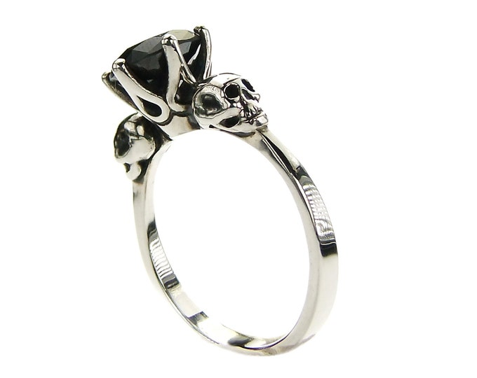 Skull Promise Band with Black Man-Made Diamond in Sterling Silver - All Sizes