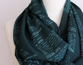 Computer Commands Infinity scarf, Circle scarf, Loop scarf, Mothers Day Gift Ideas For Her Women Fashion Accessories Geek Gift