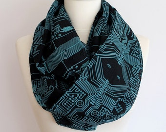 PC Circuit Board Infinity Scarf Print geek Scarf Spring Summer Fall Winter Session gift for her girlfriend wife mothers day tech gifts
