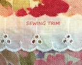 12 YARDS, CREAM Cotton, Flat Edging Sewing Trim, Embroidered Scallops, 3 Round Eyelets, Stitch Lines, 1-1/8 Inch Wide, L86