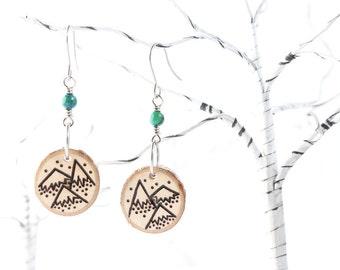 Wood-Burned Mountain Earrings, Wood Mountain Earrings, Wood Earrings, Mountain Jewelry